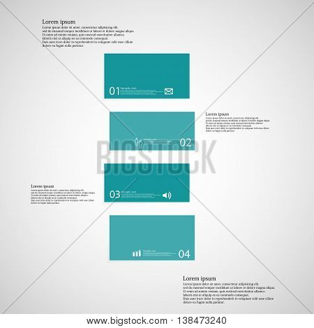 Illustration infographic template with shape of bar. Object horizontally divided to four shifted parts with blue color. Each part contains Lorem Ipsum text number and sign. Background is light.
