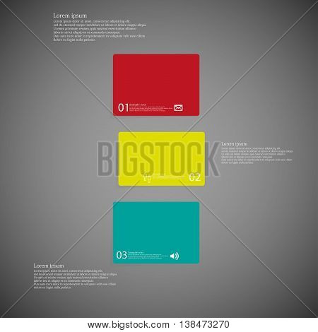 Illustration infographic template with shape of bar. Object horizontally divided to three shifted parts with various color. Each part contains Lorem Ipsum text number and sign. Background is dark.