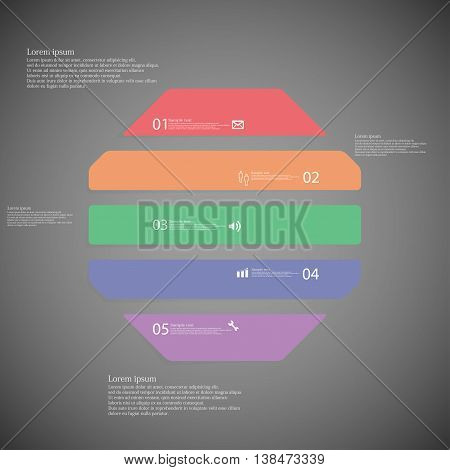 Illustration infographic template with shape of octagon. Object horizontally divided to five parts with various color. Each part contains Lorem Ipsum text number and sign. Background is dark.