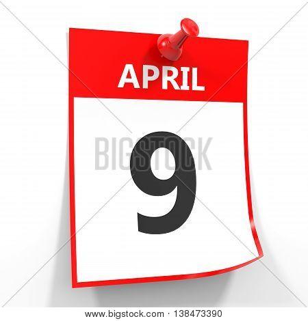 9 April Calendar Sheet With Red Pin.