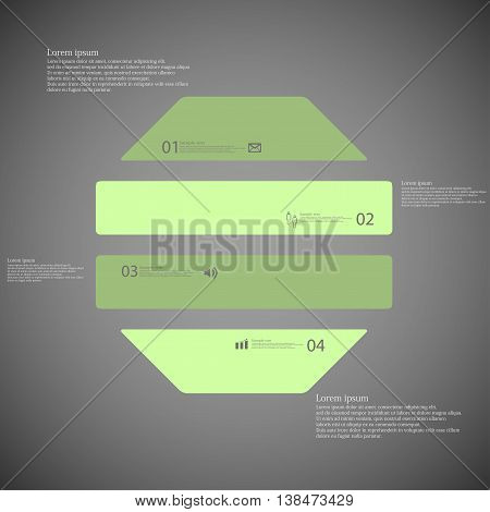 Illustration infographic template with shape of octagon. Object horizontally divided to four parts with green color. Each part contains Lorem Ipsum text number and sign. Background is dark.