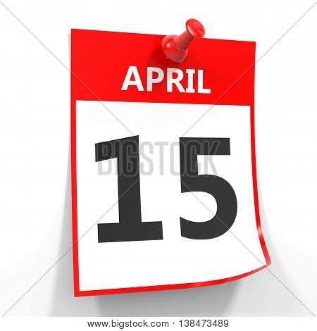15 April Calendar Sheet With Red Pin.