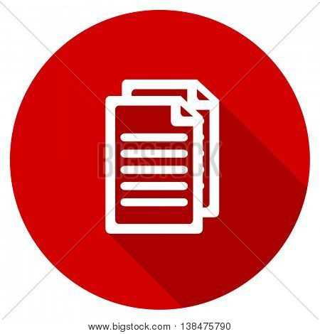 document vector icon, red modern flat design web element