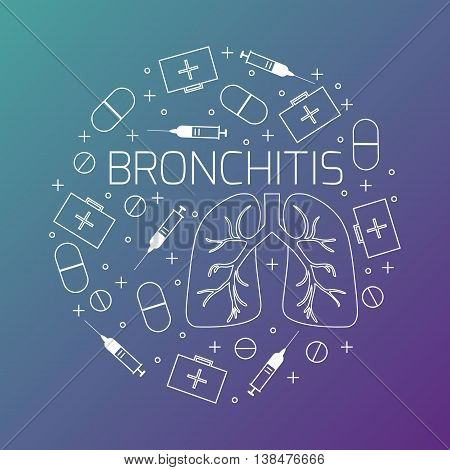 Bronchitis linear icon set. Bronchitis treatment symbols- pills syringes and first aid boxes. Bronchitis awareness sign made in line style. Vector illustration.
