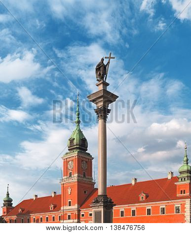 Sigismund's Column and Old Palace in Warsaw city, Poland