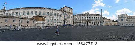 ROME ITALY - JUNE 30: Quirinal Palace in Rome on JUNE 30 2014. Panorama of Quirinale official residence of the President of the Italian Republicin at Quirinal Hill in Rome Italy.