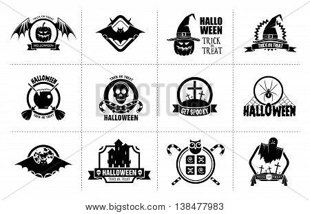 Set of monochrome Halloween celebration badges, labels and logos with pumpkins, skulls, crosses, ghosts, zombies, coffins, bats and candies