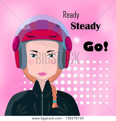 Biker girl with red helmet motorcycle race vector illustration. Motorbike racer female. Square image for auto sport. Pink background or banner template. Ready steady go. Sportswoman in helm icon