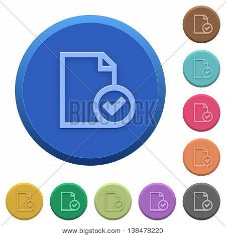 Set of round color embossed document accepted buttons