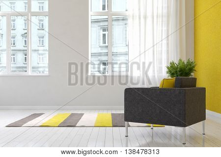 Spacious luxury living room interior with throw rug and chair over hardwood floor with large windows facing other buildings. 3d Rendering.