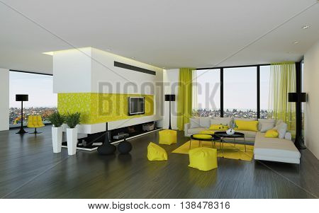 Interior of luxury condominium living room with yellow furniture and curtains and hardwood floor. 3d Rendering.