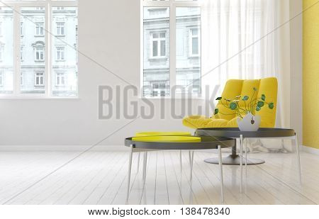 Spacious luxury living room interior with yellow cushioned chair, round tables and houseplant over hardwood floor with bright windows. 3d Rendering.