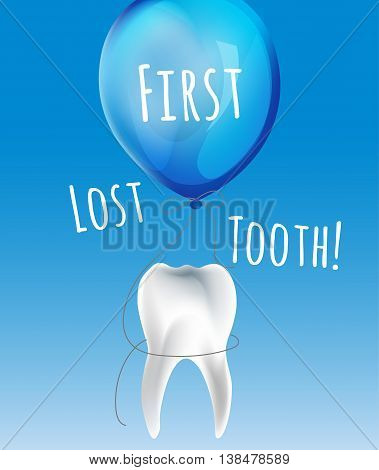 First lost tooth beautiful vector illustration  in childish style. Design Idea for a greeting card, certificate, medical poster or leaflet. Editable image in bright blue colours.
