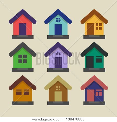 Set of flat vector houses. House logo and flat design template. Soft flat colors