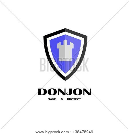 Shield and tower vector logo. Secure and protect logo design template