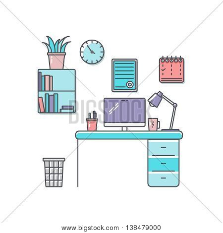 Workplace flat lineart vector illustration. Office design template