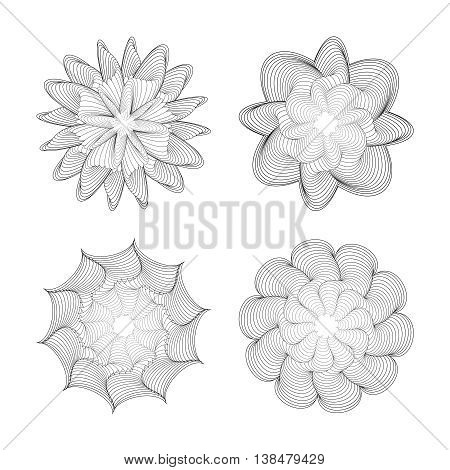 The set of elements of twisted geometric shapes. Black coiled lines on a white background. Vector illustration.
