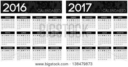 Spanish textured black calendar vector year 2016 2017