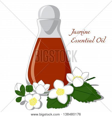 Bottle of essential oil with jasmine flower on a background