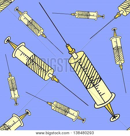 Syringe Seamless vector illustration. Beautiful style comic medication. Hand-drawn