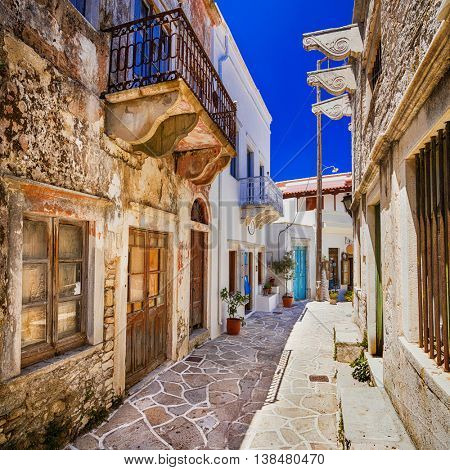 charming narrow streets of traditional greek villages - Naxos is