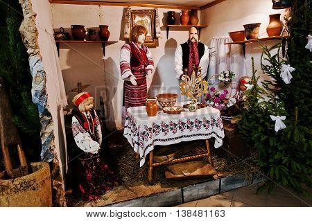 Very Large Christmas Nativity Crib. Ukraine  National Family