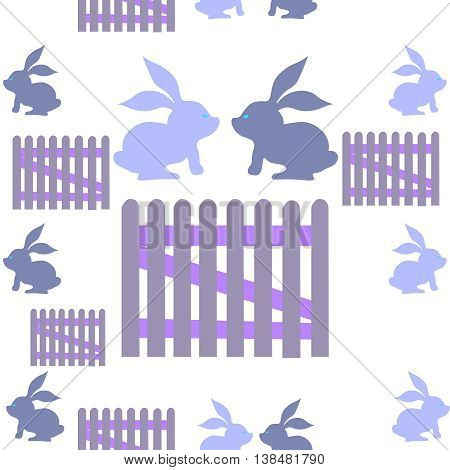 Vector seamless pattern with rabbits and fence