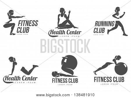 workout logo fitness aerobic and workout exercise in gym