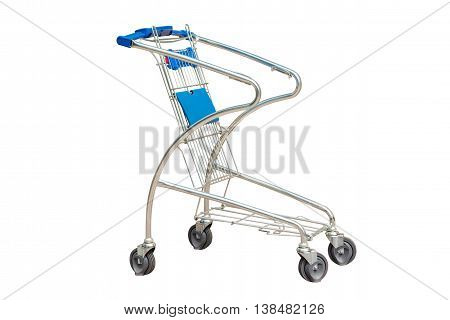 image of shopping trolley for supermarket isolated on white background