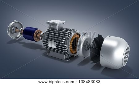 Electric Motor In Disassembled State 3D Illustration On A Gradient