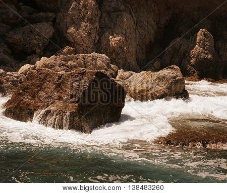 Rock and Mediterranean sea in Turkey