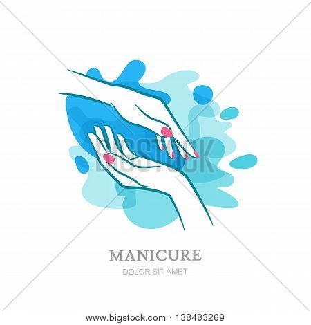 Female Two Hands In Clean Water Splash. Vector Logo, Label, Embl