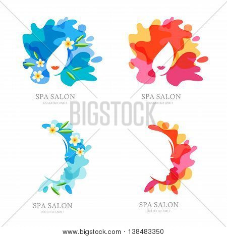 Vector Logo, Label, Emblem Set. Female Face And Flowers On Water