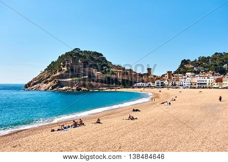 Tossa del Mar Spain - April 7 2016: View of a Vila Vella the oldest part of the town of Tossa del Mar Costa Brava Catalonia Spain