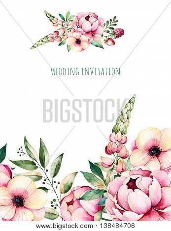 Beautiful watercolor card with place for text with flower, peonies, leaves, branches, lupin, air plant, strawberry