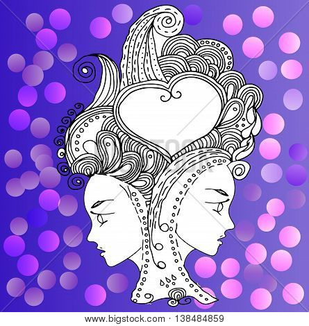 vector girls in doodle style with gorgeous hairs on doodle background. Can be used as card, invitation, background element. Hand drawn style.