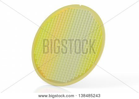 Silicon wafer with processor cores 3D rendering isolated on white background