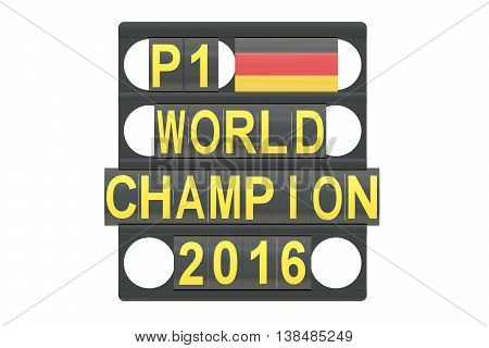 World Champion racing concept pit board with flag of Germany 3D rendering