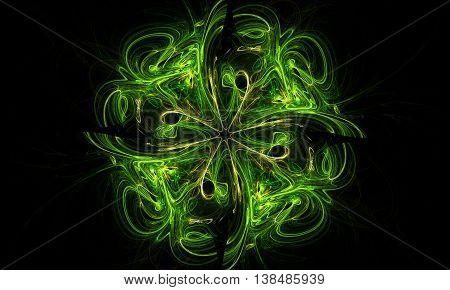Incredible Shamrock Fractal Abstraction. Texture And Background