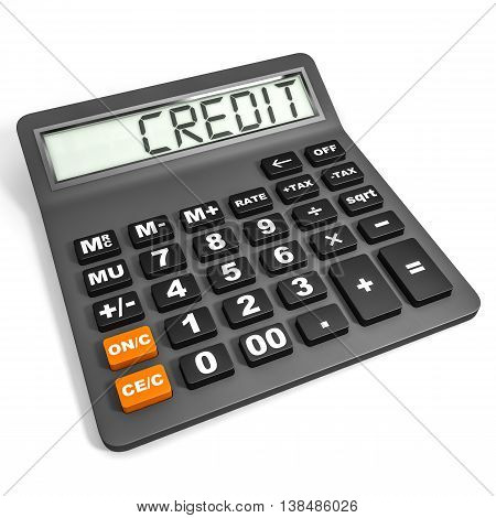 Calculator With Credit On Display.