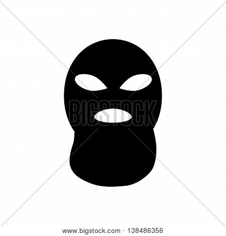 Terrorist or bandit mask icon. Silhouette vector illustration