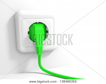 Plug and socket on white background. 3D illustration.
