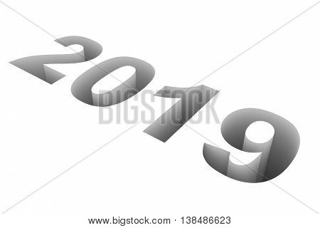 2019 New Year on white background. 3D illustration.