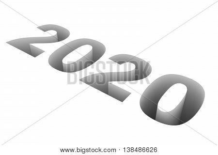 2020 New Year on white background. 3D illustration.
