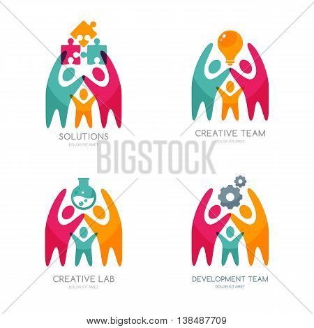 Set of vector human logo icons or emblem. People with puzzle light bulb gear cog. Concept for business solutions team building consulting. Isolated color people and team work illustration.