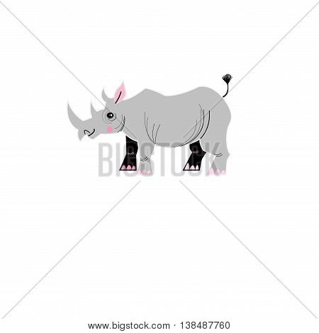 Graphic design gray rhinoceros on a white background