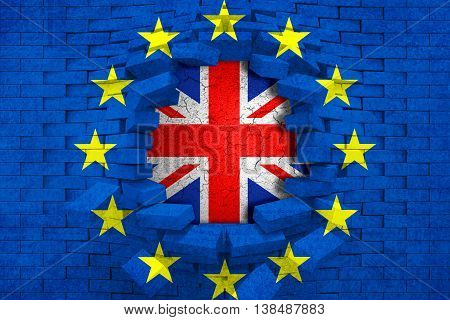 Brexit Blue European Union Eu Flag On Broken Brick Wall With Hole And Great Britain Flag Inside
