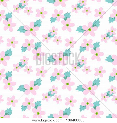 Sweet vector pattern with small flower. Small cute pink flowers on a white background.