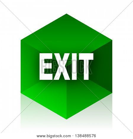 exit cube icon, green modern design web element