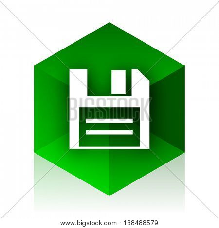disk cube icon, green modern design web element